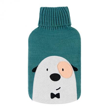 bolsa agua caliente verde con perro bordado