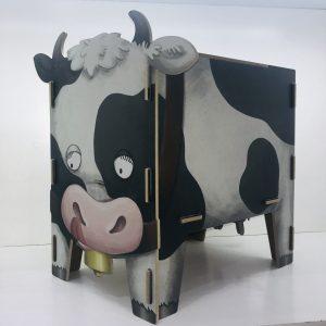 taburete cofre vaca madera